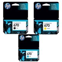 Cartucho HP Preto e Colorido Original Novo para HP 670 934