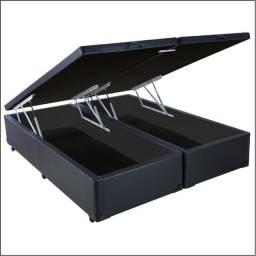 Base Box Baú Casal Bipartida R458, Pistões à gás, 1,38 M