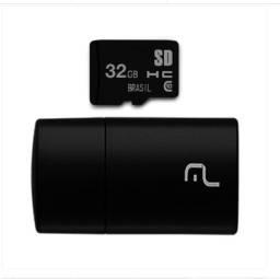 Pen Drive 2 em 1 Multilaser Leitor USB + Cartão de Memória Classe 10 32GB - MC163 Preto