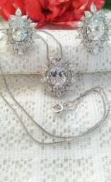 Conjunto prata Ródio Branco Colar + Pingente + Brinco Zircônia Semijoia