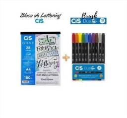Bloco Livro De Exercícios Para Brush Lettering + Caneta Dual tip 10 cores Cis