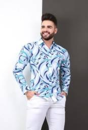 Camisa slim manga longa estampada