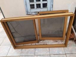 Janela de Alumínio Cor Madeira 1.00x1.60cm