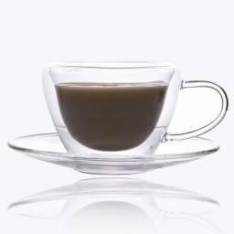 Xícara de Vidro Para Café Com Pires 90ml (Elegance Para Sublimação) - 2716