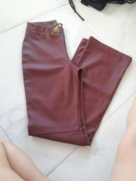 Calça couro vermelha veste 36 ao 40
