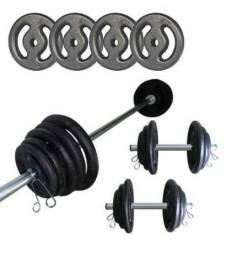Kit Fitness Anilhas e Barras
