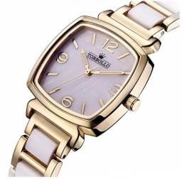 8084beb66bd Lindo Relógio Luxuoso Feminino Dourado Torbollo 100% Novo e Original com  Caixa e Manual