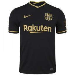 Camisa Barcelona 20/21 n°10 Messi Torcedor Nike Masculino - Preto+Dourado