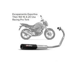Escapamento Esportivo Titan 160 16 A 20 Usa Racing Pro Tork NOvo