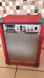 Caixa de som amplificada frahm vermelha 80w modelo lc350 App