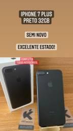 iPhone 7 Plus Preto 32gb - Estado de Novo! Completo.
