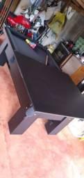 Mesa Charme e Jantar Cor Preta Tecido Azul Mod. BSAE7421