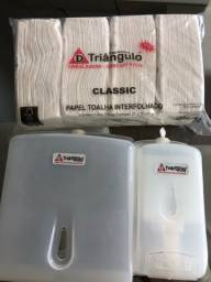 KIT: dispenser sabonete/álcool + dispenser toalha de papel + 1000 toalhas de papel