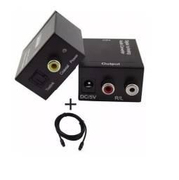 Conversor de Áudio Óptico P/ Saída Rca + Cabo Óptico