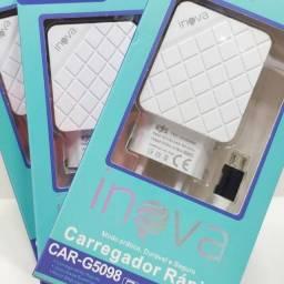Carregador Rápido Inova 3.1A iPhone e Tipo C