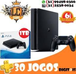 PS4 SLIM 500GB ou 1TB + 30 JOGOs + 06 MESEs Garantia