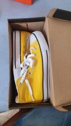 Converse all star cano alto amarelo N37/38