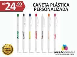 8 canetas plásticas personalizadas em várias cores.