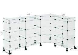 Balcão De Atendimento L Modulado Em Vidro Com Rodízios 1,50 X 1,10 X 1,00 ?