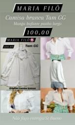 1 Camisa branca manga bufante marca MARIA FILÓ Tam GG original punho largo