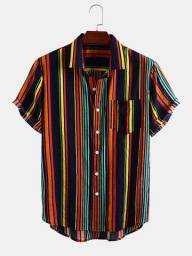 Camisa De Botão Listrada - Colorful Stripe - Tamanho GG