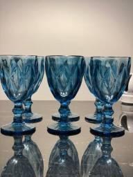 Jogo de 6 taças cor azul novos