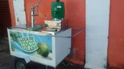 Carrinho de água de coco gelada super luxo torre furador profissional, semi-novo