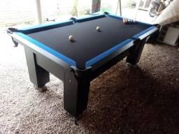 Mesa Charme de Sinuca e Jantar   Mesa Preta   Tecido Preto   Borda Azul   Modelo: TXYA6364