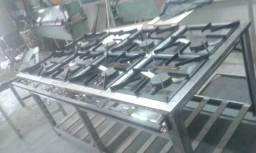 Fogão industrial em inox 8 bocas - queimadores duplos - Inovare Equipamentos em aço inox s