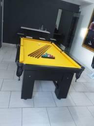 Mesa Charme 4 Pés Laterais Cor Preta Tecido Amarelo Mod. BSAE4966