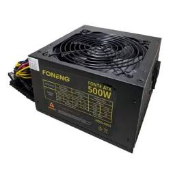 Fonte ATX 500w Gamer C/ Pfc, Cooler 12cm Bivolt