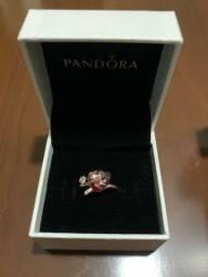 Anel Pandora rose Folha de Murano rosa