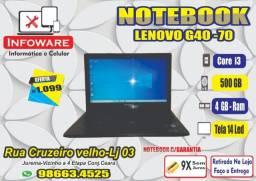 Notebook Lenovo G40 70 Core i3 /HD500GB/04GB Memoria/Garantia