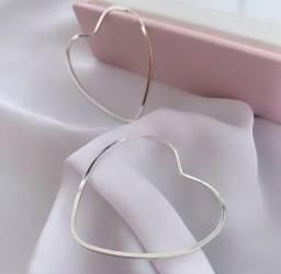 Brinco Argola Coração Vazado Prata 925 Feminino 4,5 Cm