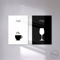 Kit 2 Quadros Decorativos AM PM Café Vinho Para Sala Mdf