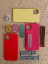 Case para iPhone 11, pop socket, pulseira para Apple Watch
