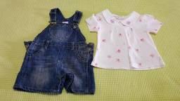 Vendo conjunto de macacãozinho jeans com camiseta tamanho G - 6 a 9 meses