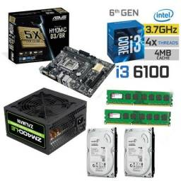 Kit Intel Core I3 6100 Asus H110m-c D3/br 8gb + Fonte 400 Real