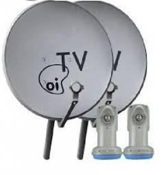 2 Antena Banda Ku 60cm + 2 Lnbf Duplo Incluso