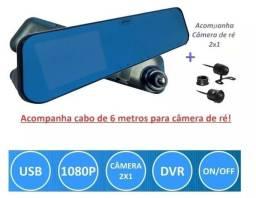 Kit Espelho Retrovisor Tela Lcd 4.3 Câmera Frontal Câmera Ré
