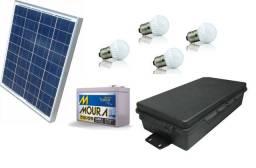 Kit para Food truck, Trailer, Carrocinha Lanches. Placa Solar + Bateria + Lâmpadas Led
