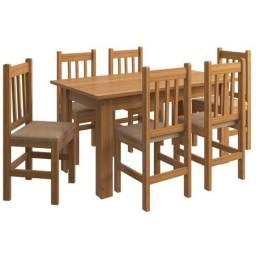 Conjunto Mesa e 6 Cadeiras Zamarchi, Canela