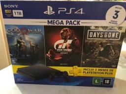 PlayStation 4 (PS4) Mega Pack 1T novo lacrado + 3 jogos top e na garantia
