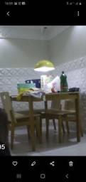 Mesa de jantar 4 cadeiras Idea Store em madeira Tucupi