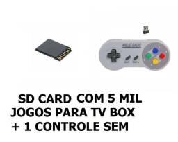 Cartão Mini Sd com 5 mil jogos para Tv Box + Controle sem fio