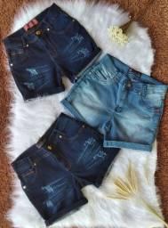 Short Jeans Feminino - Com Dobrinha - 38 ao 46