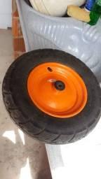 """Roda e pneu com câmara<br>Aro 3.5 / 8""""<br>Bucha plástica Tramontina"""