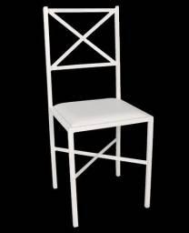Cadeira Branca De Ferro Com Assento Estofado Cadeira Usada