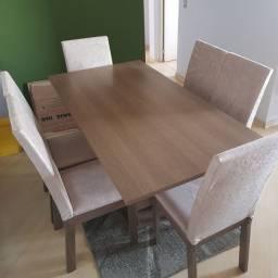 Mesa Tampo MDF, 6 cadeiras. NOVO NUNCA USADO, GARANTIA DE 1 ANO! A RETIRAR