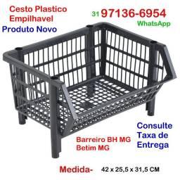10 Cesto Empilhável - Novo- Comercio Loja Padaria Sacolão- Betim MG